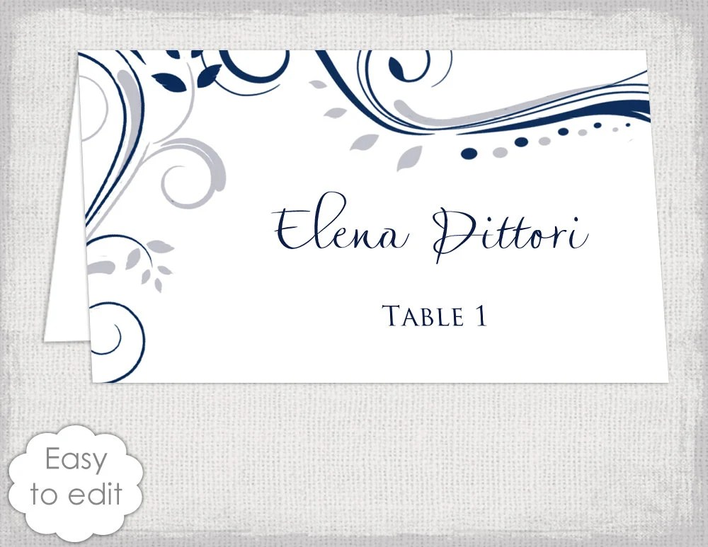 Name card wedding template Navy and silver gray Etsy