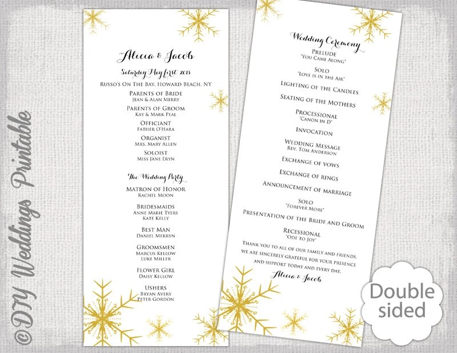 Snowflake wedding program template Winter wedding program Gold DIY