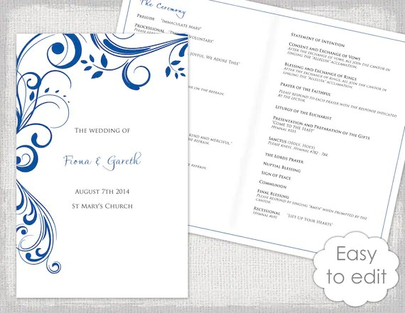 Printable Wedding program template Horizon Blue Etsy