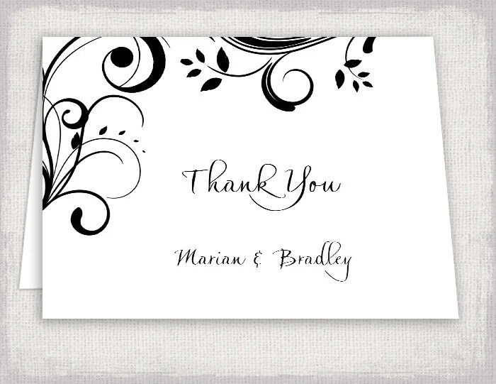 Wedding Thank you cards template Printable black Etsy