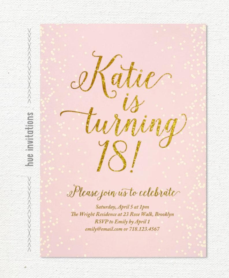 Pink gold glitter 18th birthday invitation for girl modern Etsy