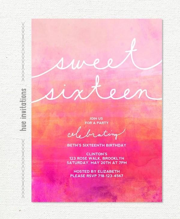 Ombre watercolor sweet 16 birthday invitation pink magenta Etsy