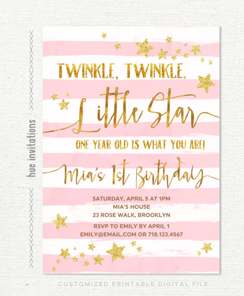Twinkle twinkle little star first birthday invitation for Etsy