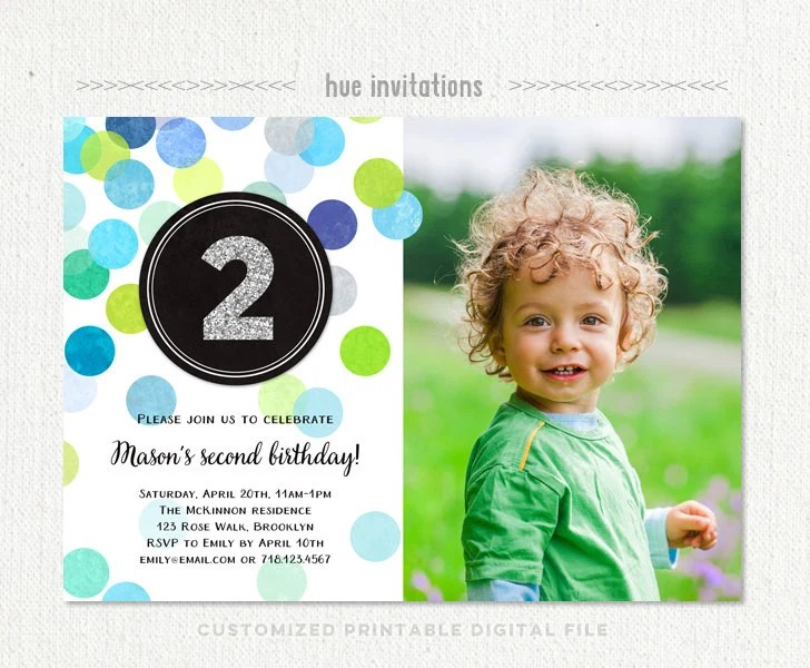 2nd birthday invitations for boys with photo second birthday Etsy