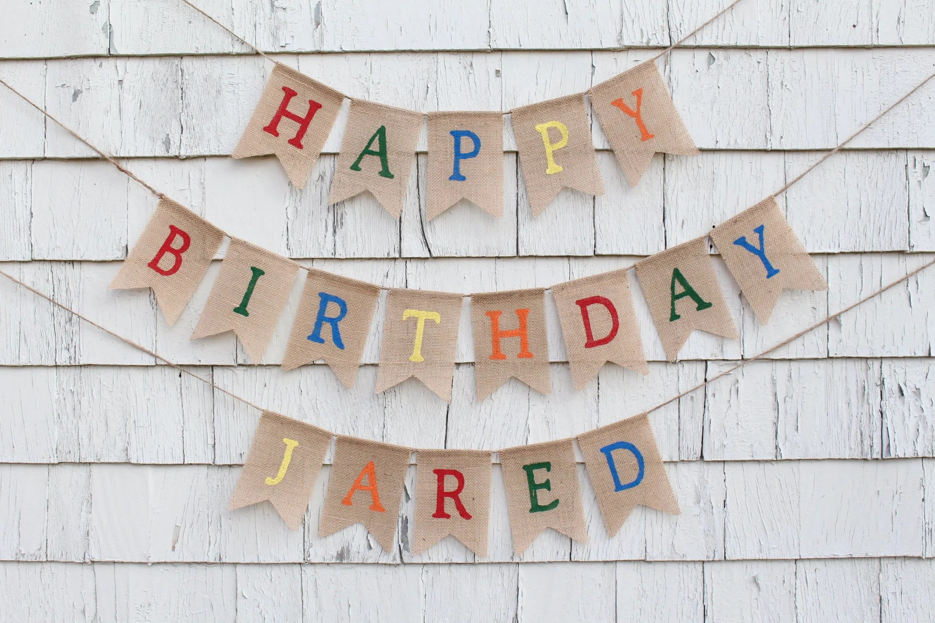 Happy Birthday Banner With Custom Name Happy Birthday Burlap Etsy