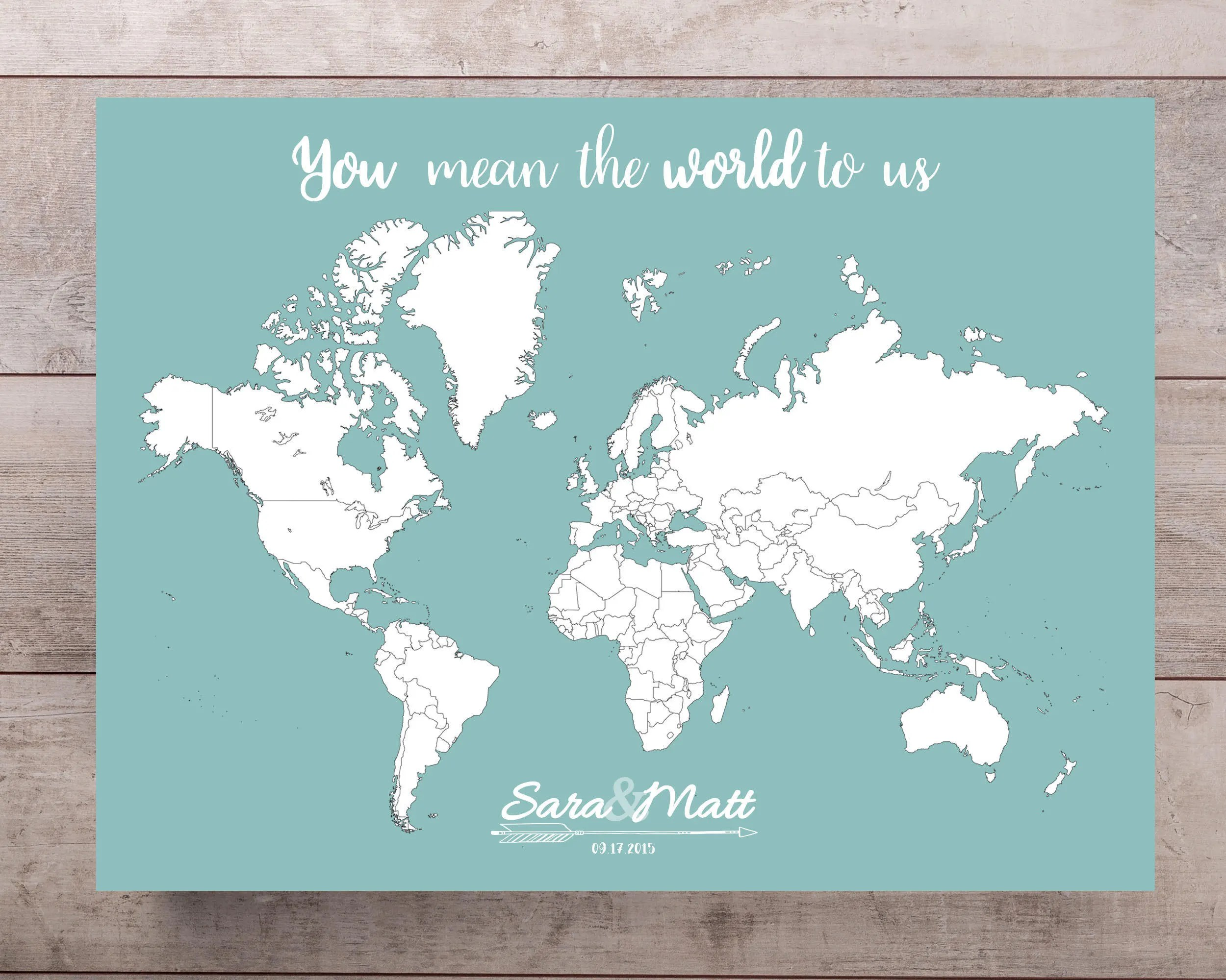 Wedding Guestbook World Map Print with Names  Date Etsy