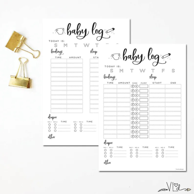 Printable baby log feeding tracker sleep tracker infant Etsy