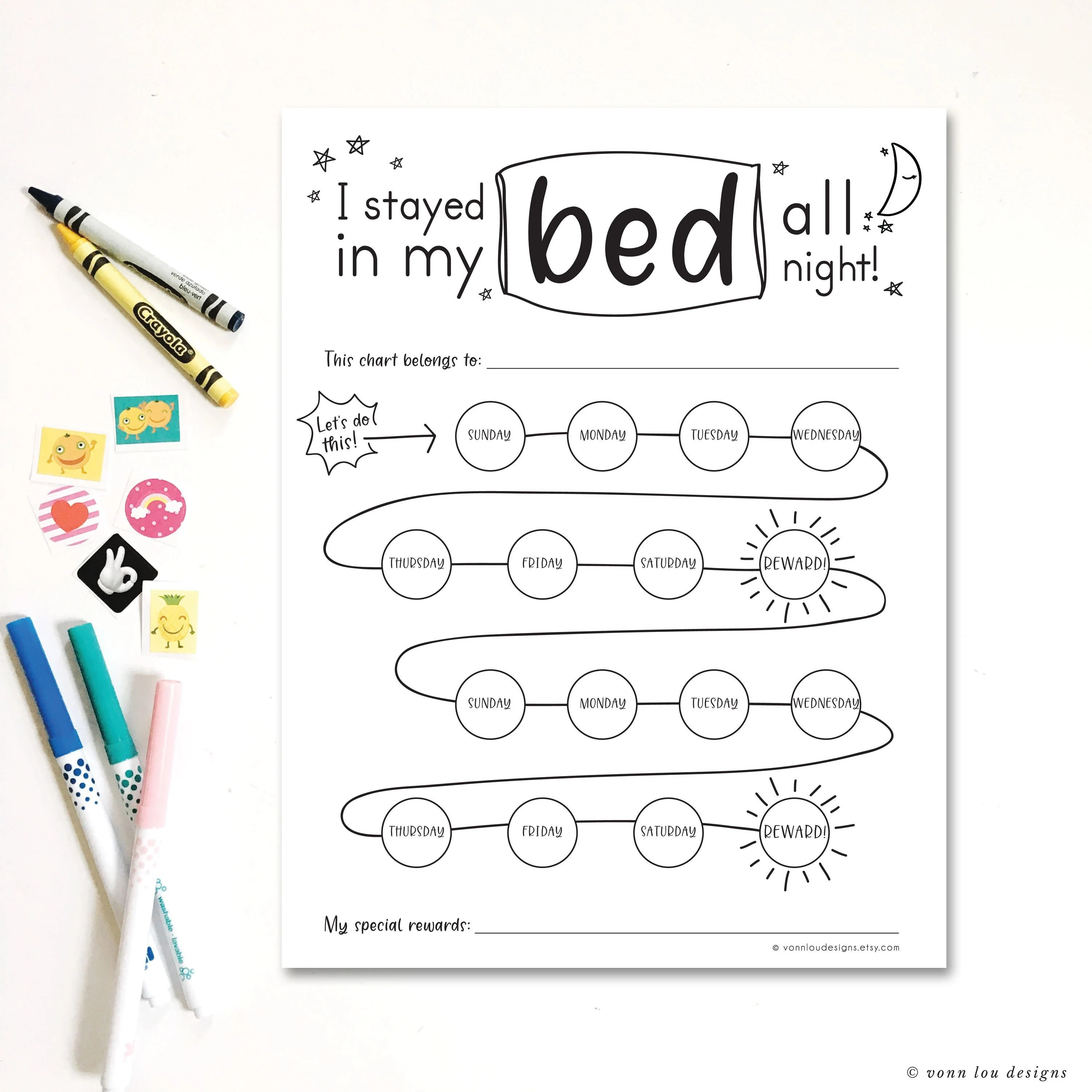 Stay in bed reward chart printable download hand Etsy