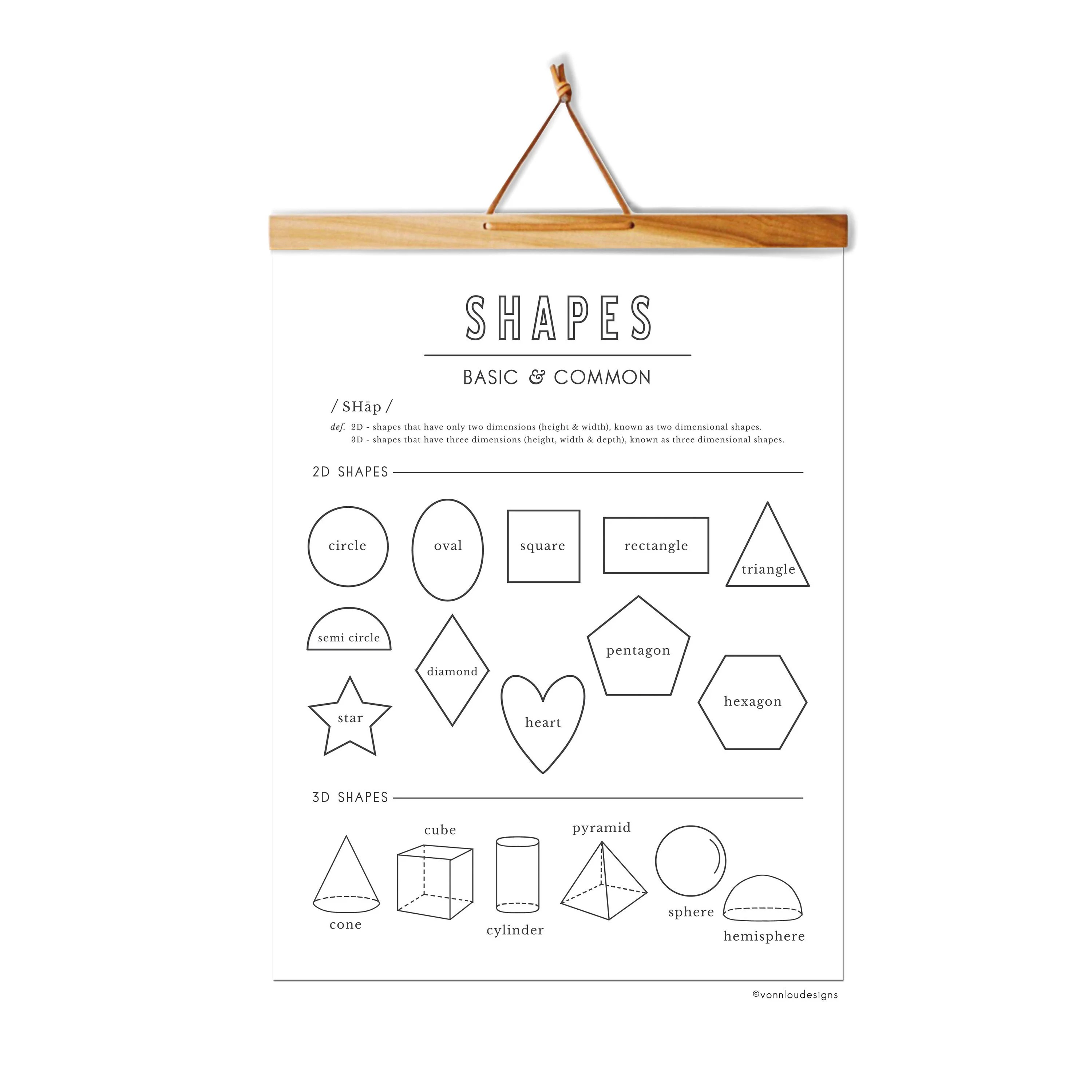 Shapes chart 2D shapes 3D shapes hand illustrated Etsy