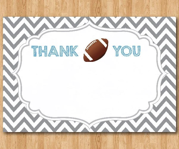 Football Thank You Note Football theme thank you card Gray Etsy