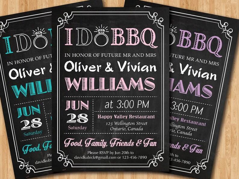 I do BBQ Wedding Invitation Chalkboard invite Pink, Blue, Purple, any  color Black and White typography Printable Digital DIY