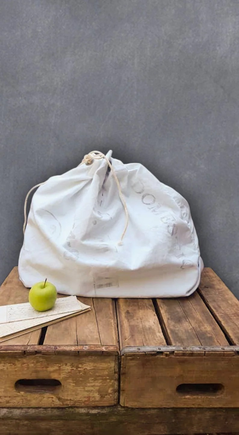 Sack It Vintage Canvas Domestic Mail Sack White Duffel Bag