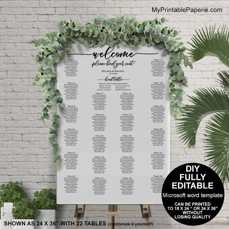 Seating chart wedding template wedding seating chart poster Etsy