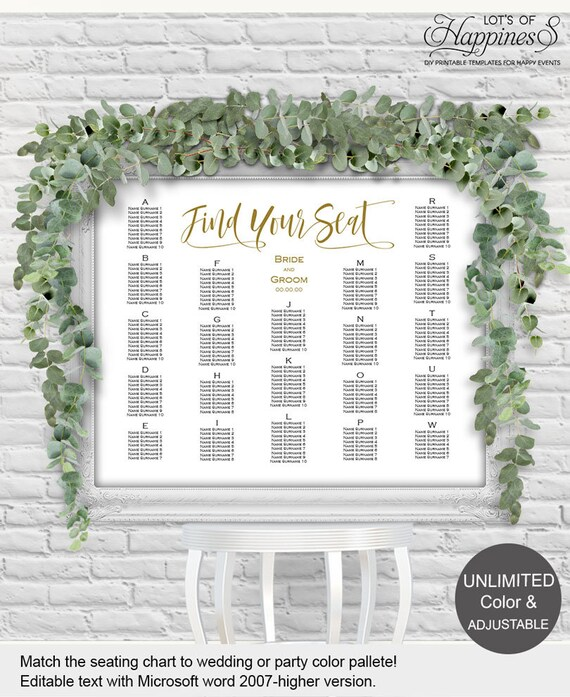 Alphabetical seating chart, wedding seating chart template
