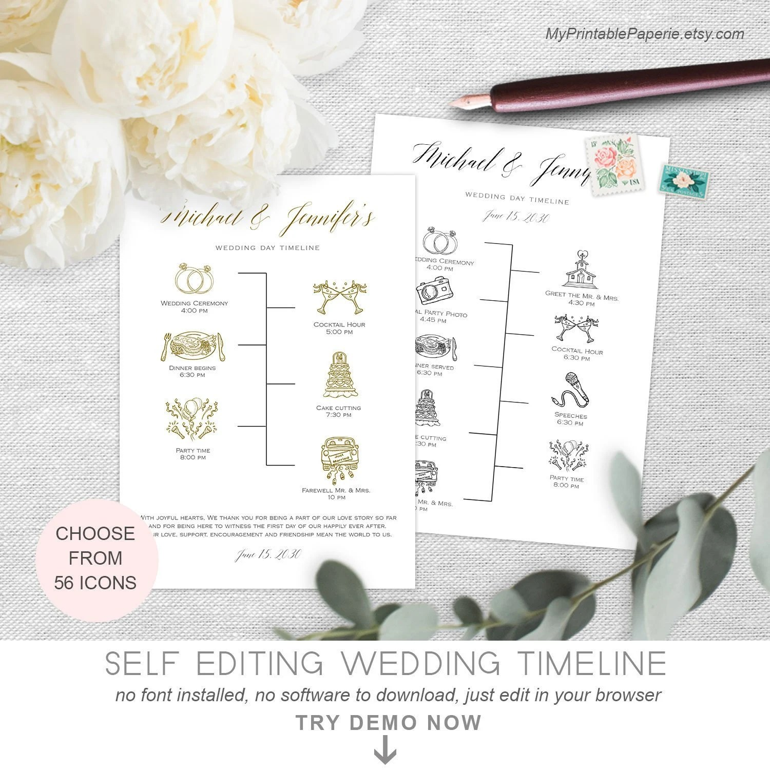 Wedding Timeline Template Simple Wedding day timeline Etsy