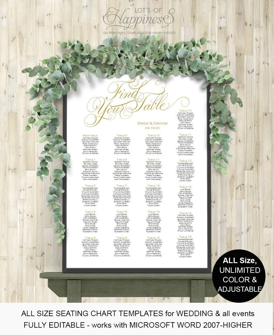 Table assignment wedding seating chart Wedding reception Etsy