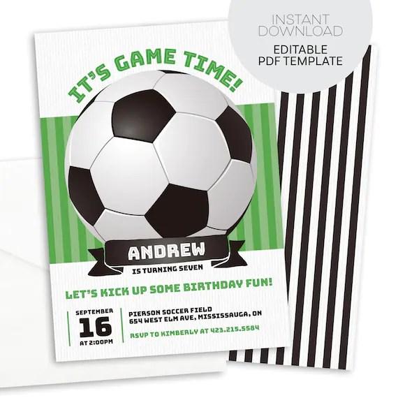 Soccer Invitation Printable Instant Download Soccer Birthday