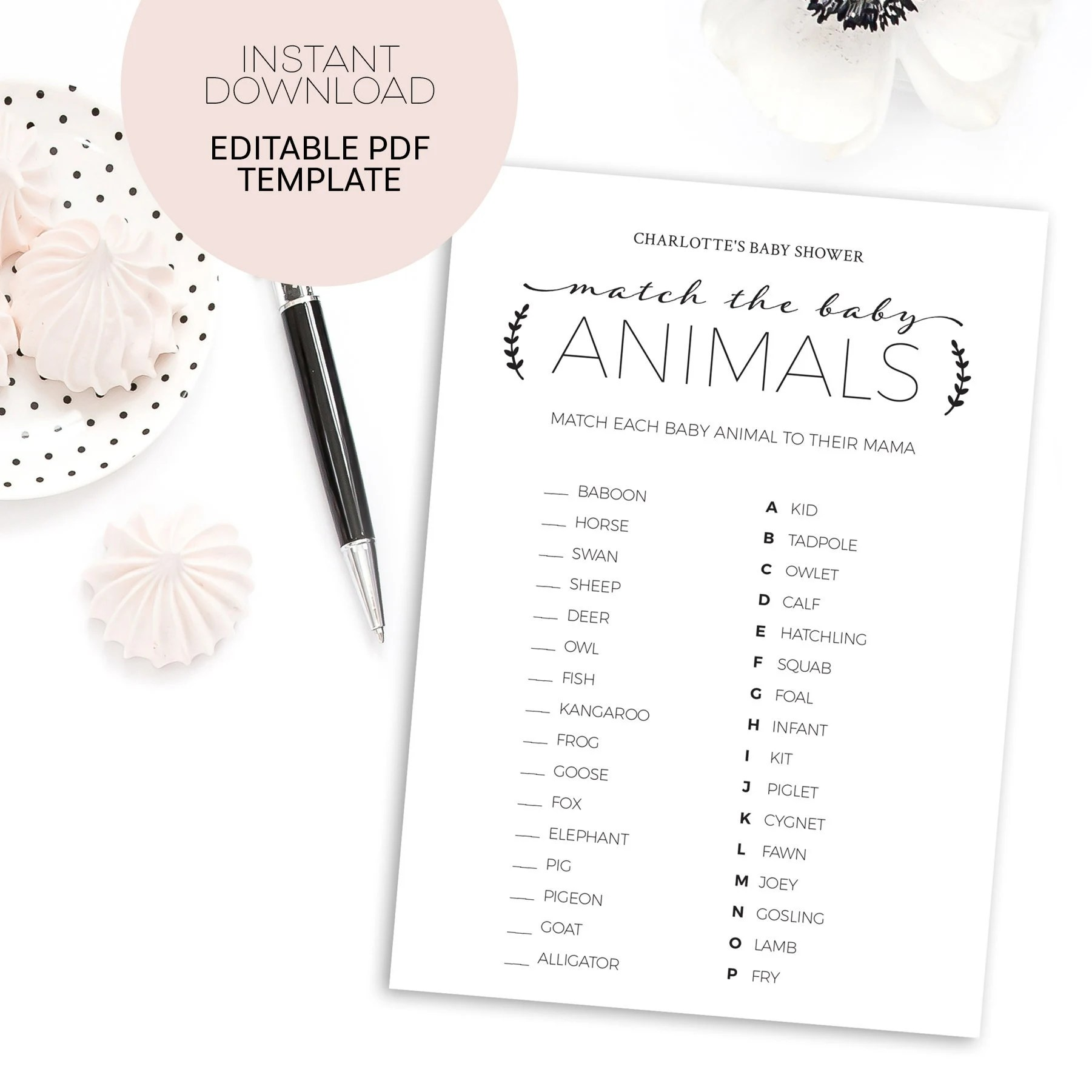 Animal Matching Baby Shower Game Printable Instant Download File