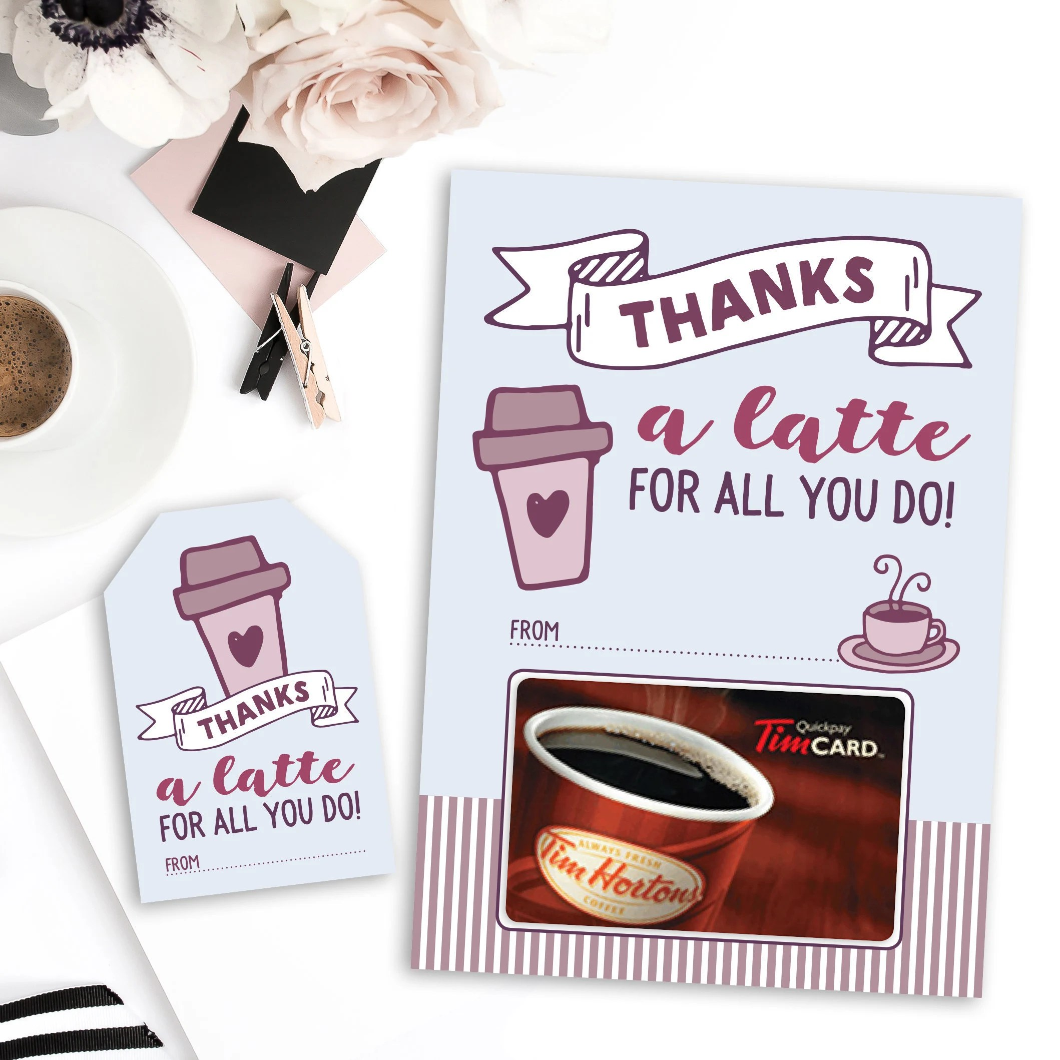 Thanks A Latte Teacher Thank You Tags And Gift Card Holder