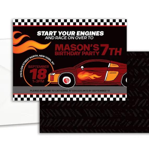 Race Car Invitation Printable Sports Car Birthday Party Invitation