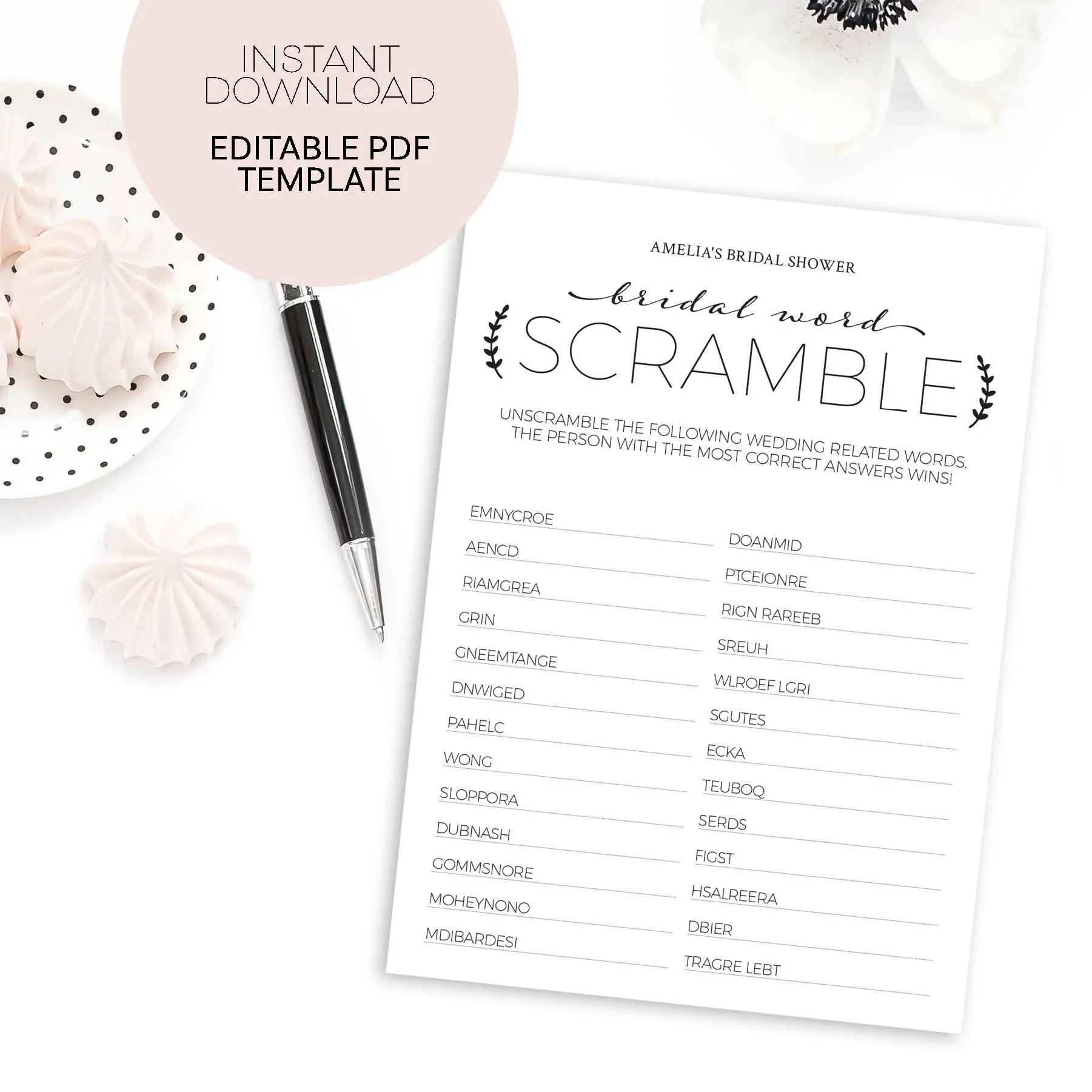Bridal Shower Word Scramble Bridal Shower Games Printable Bridal