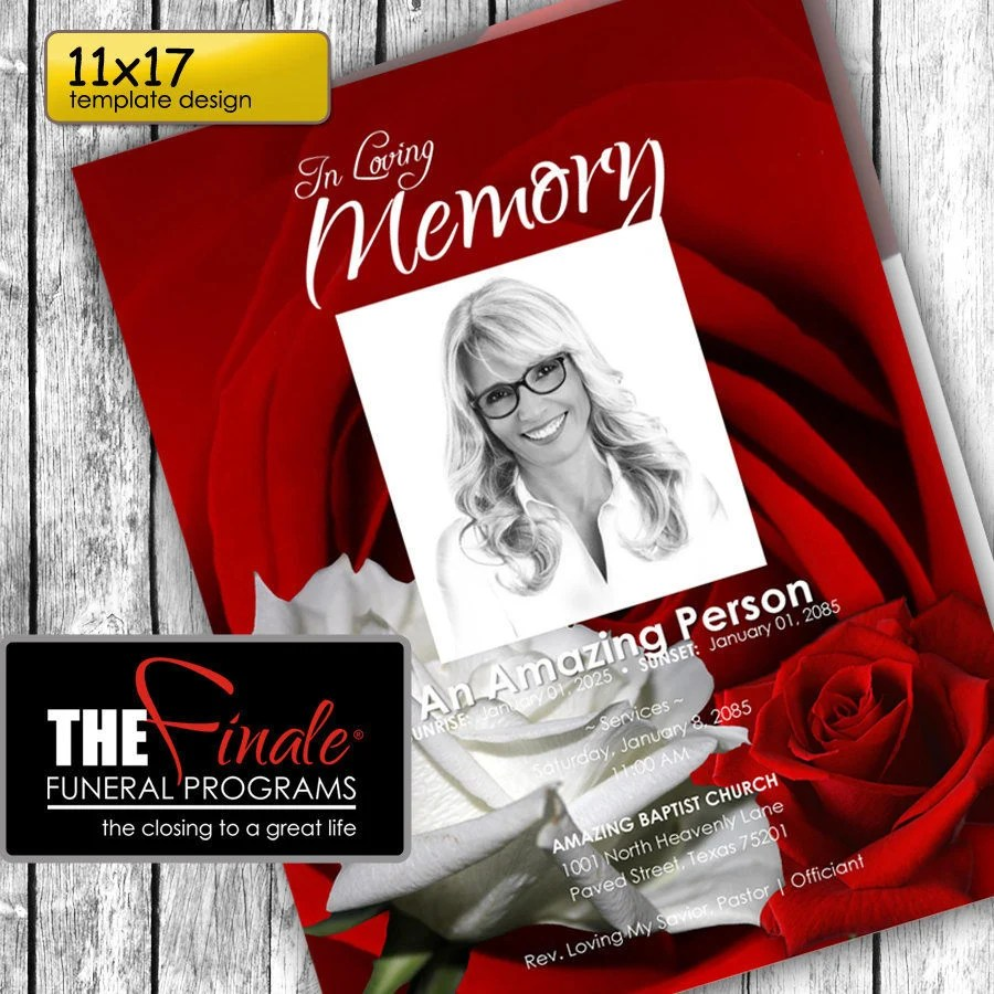 11x17 RED and WHITE ROSEVILLE printable funeral program Etsy