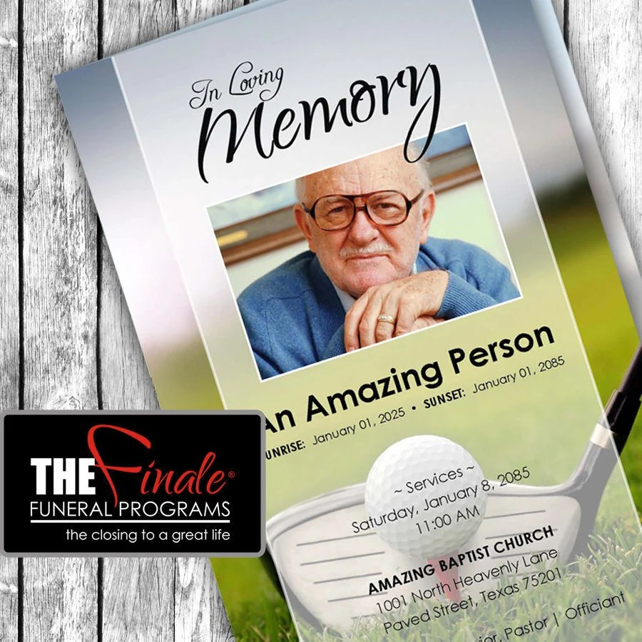 THE ULTIMATE GOLFER printable funeral program template Etsy