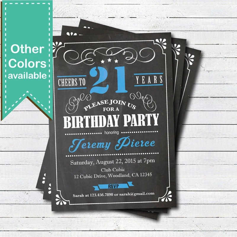 21st Birthday chalkboard invitation Cheers to 21 year Blue Etsy