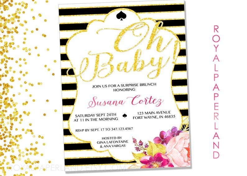 Invitación para baby shower Estilo Kate Spade Formato Etsy