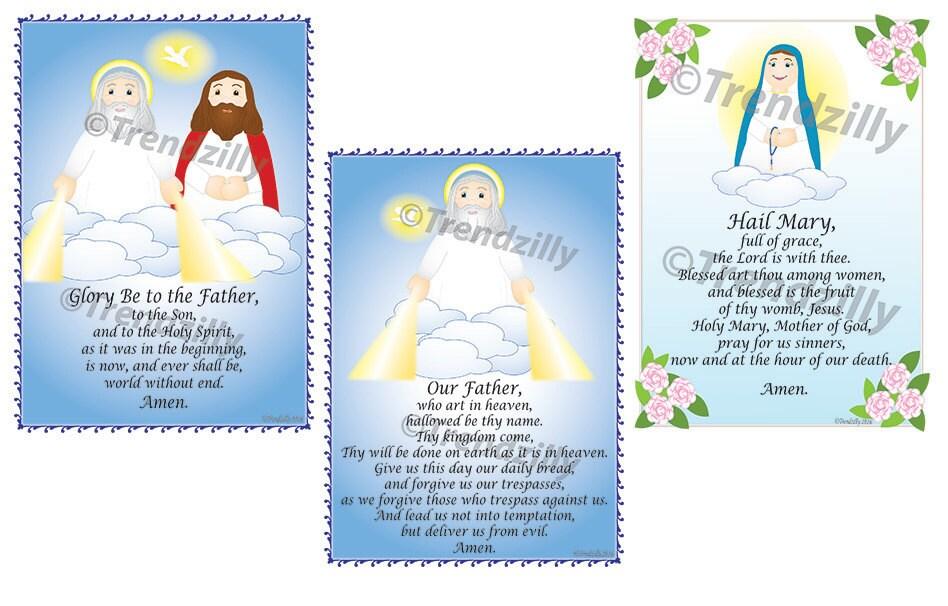Soft Saint Prayer Card Set 1, Kids Prayer Cards, Prayer Holy Cards