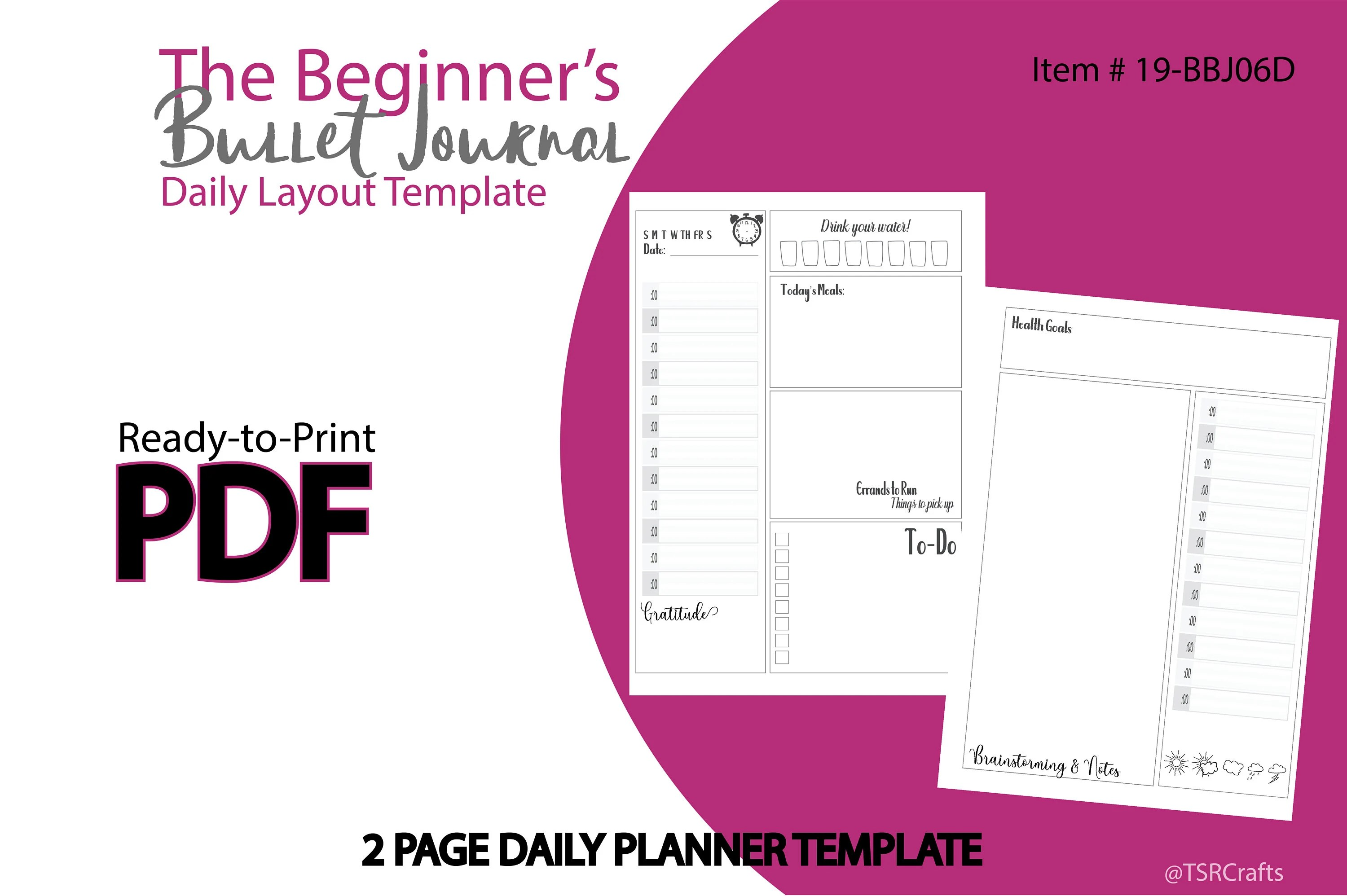 Printable Planner Insert 2 page Daily Layout template Etsy