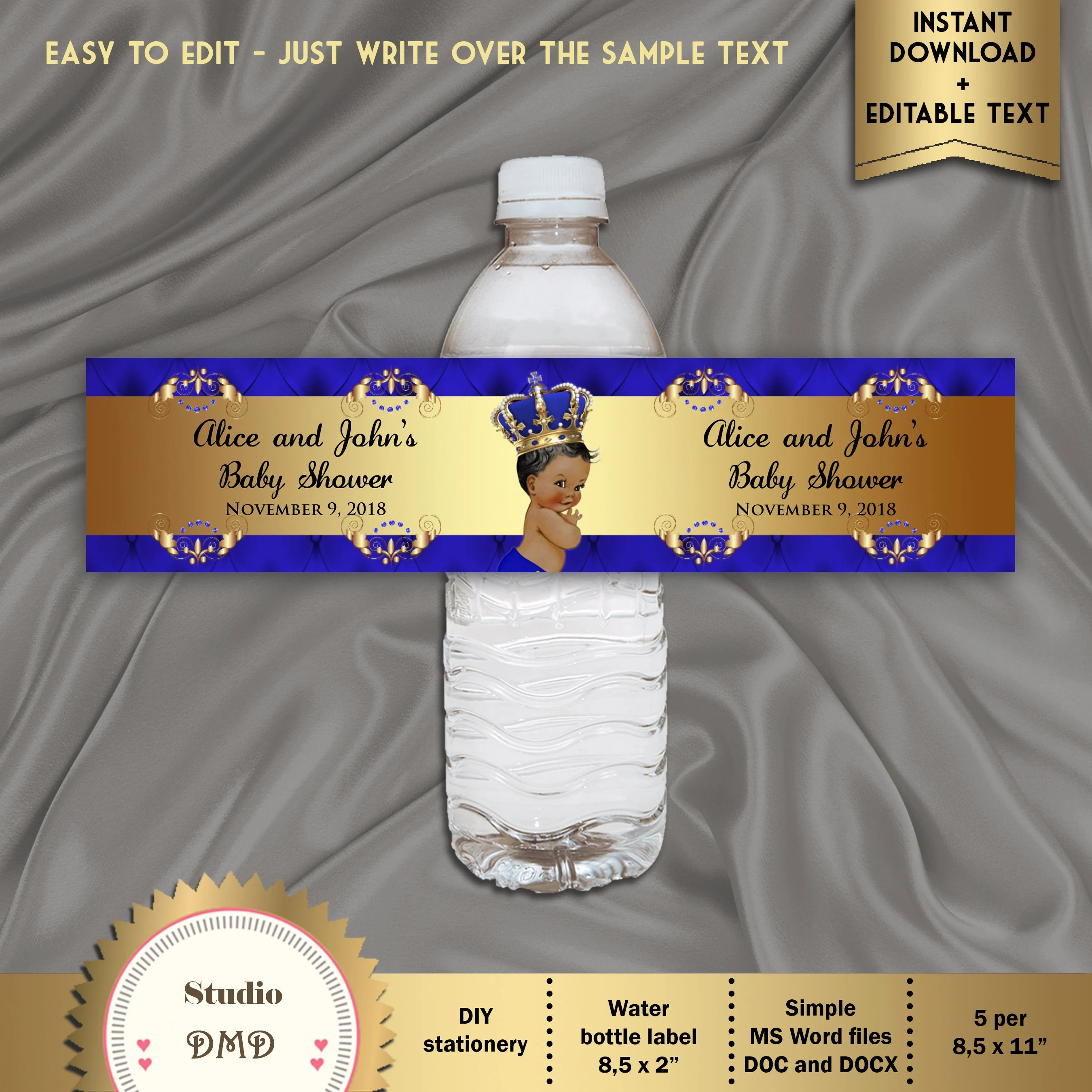 Printable Baby Shower Water Bottle Labels Royal Baby Shower Etsy
