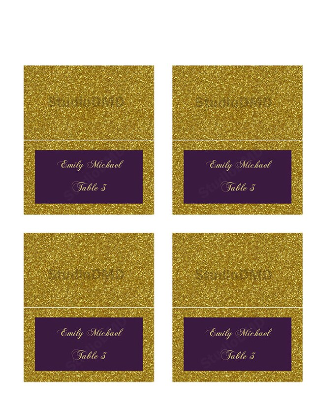 Wedding Escort Card Template, Place Card Tent Style, Gold Glitter