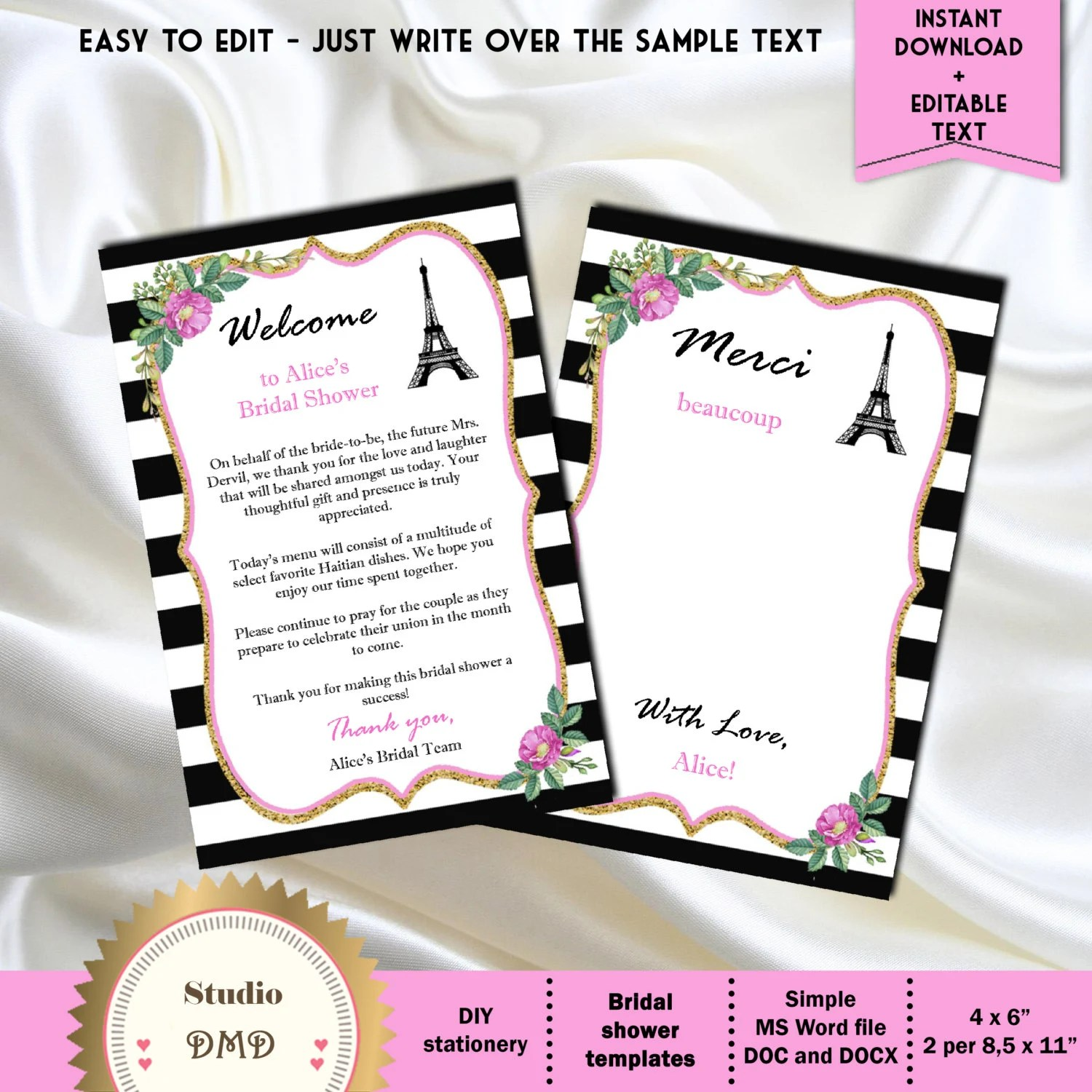 Thank You Card, Paris Thank You Card Template, Black and White