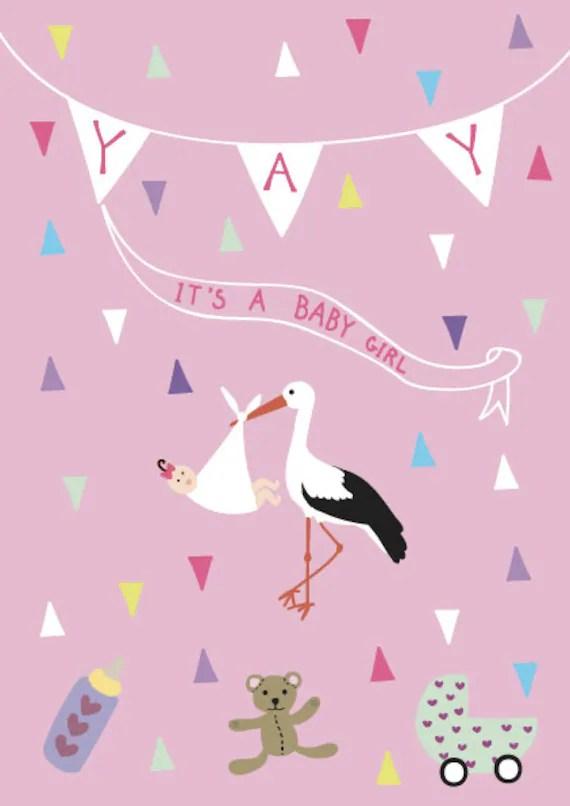 New Born Baby Girl Greeting Card Yay It\u0027s a Boy Girl Post Etsy