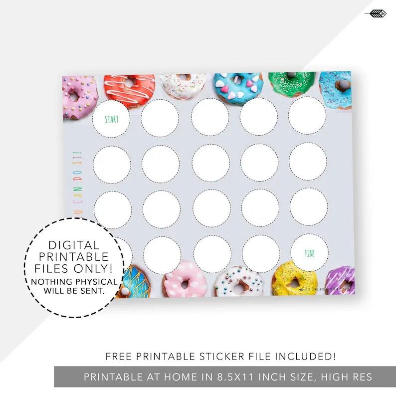 Doughnut Incentive Reward Chart Sticker Chart Printable Etsy