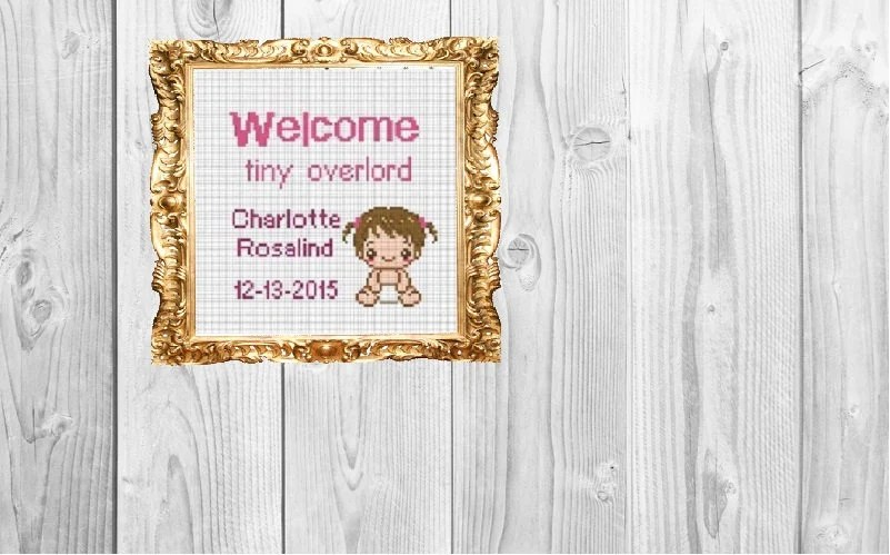 Welcome Tiny Overlord Custom Baby Announcement Cross Stitch Etsy