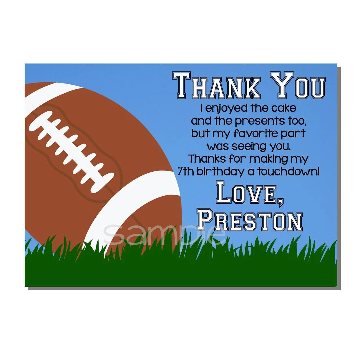 Football Thank You Card All Star MVP Birthday Party DIGITAL Etsy