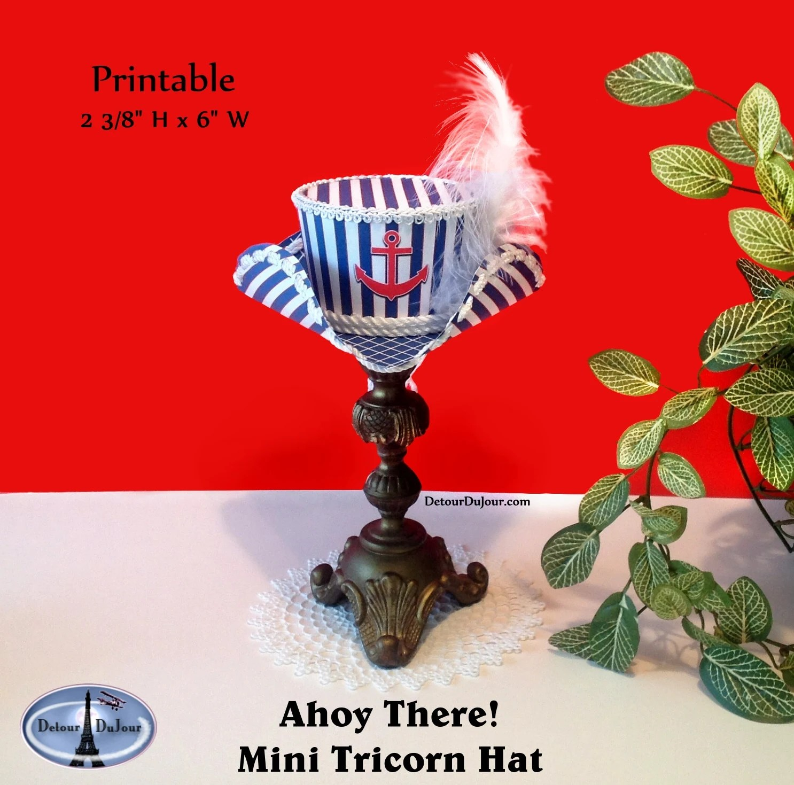 PRINTABLE Nautical Top Hat Mini Pirate Hat Tri-Corner Mini Etsy