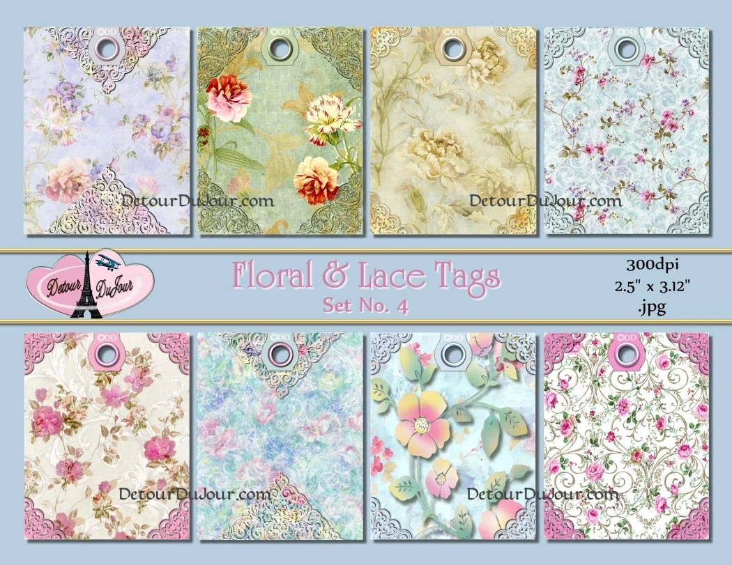 Shabby Chic Tags Collage Sheet Gift Tags Printable Floral Etsy