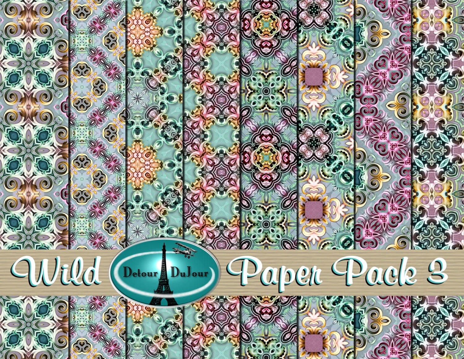Printable Origami Paper 12 x 12 Kaleidoscope Paper Pack Etsy
