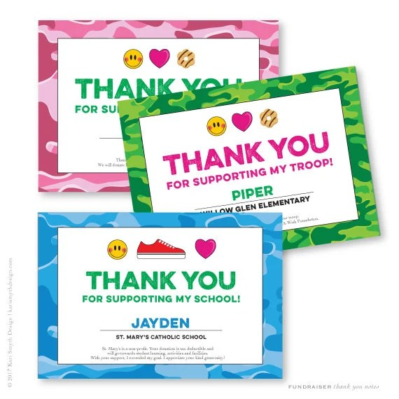 Fundraiser Camo and Emoji Thank You Notecards Personalized  Printable  For club, school or scout troop walkathon popcorn cookies nuts