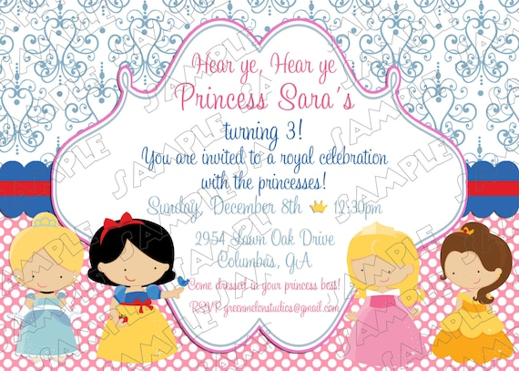Princesses Inspired Birthday Party Printable Invitations