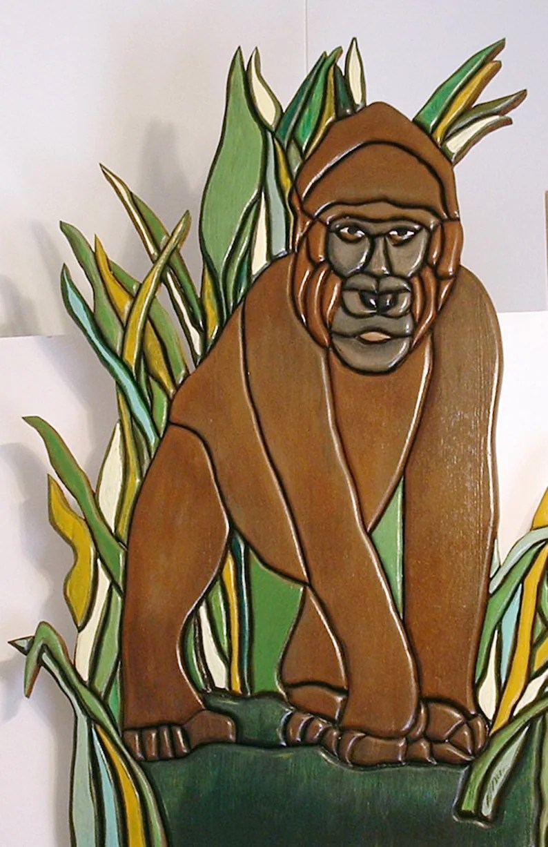 Arte En Madera Intarsia Gorilla African Wall Art Wood Sculpture Intarsia Animal