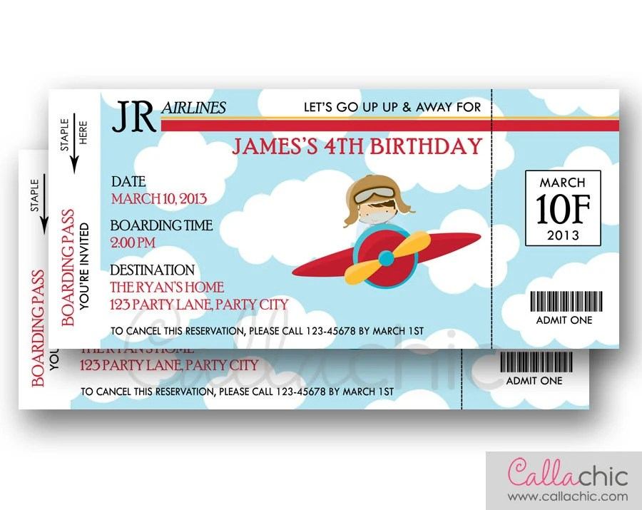 Airplane Ticket Invitation PRINTABLE Boarding Pass Aeroplane Etsy