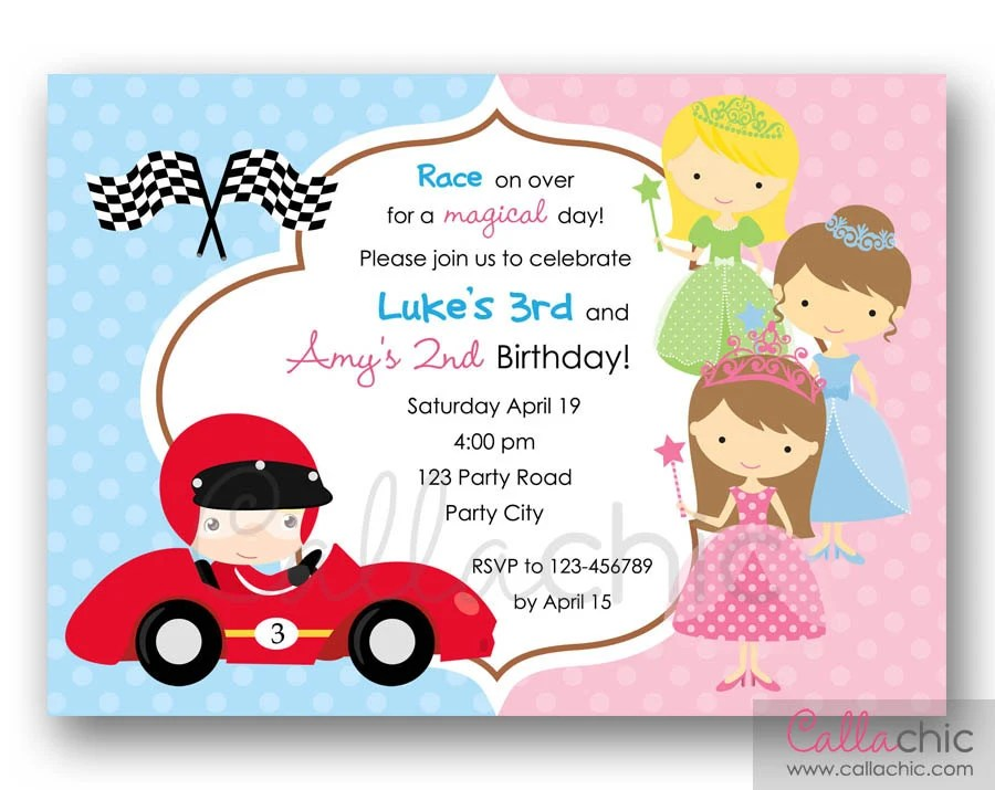 Princesses and Race Car Invitation PRINTABLE Twin / Joint / Etsy