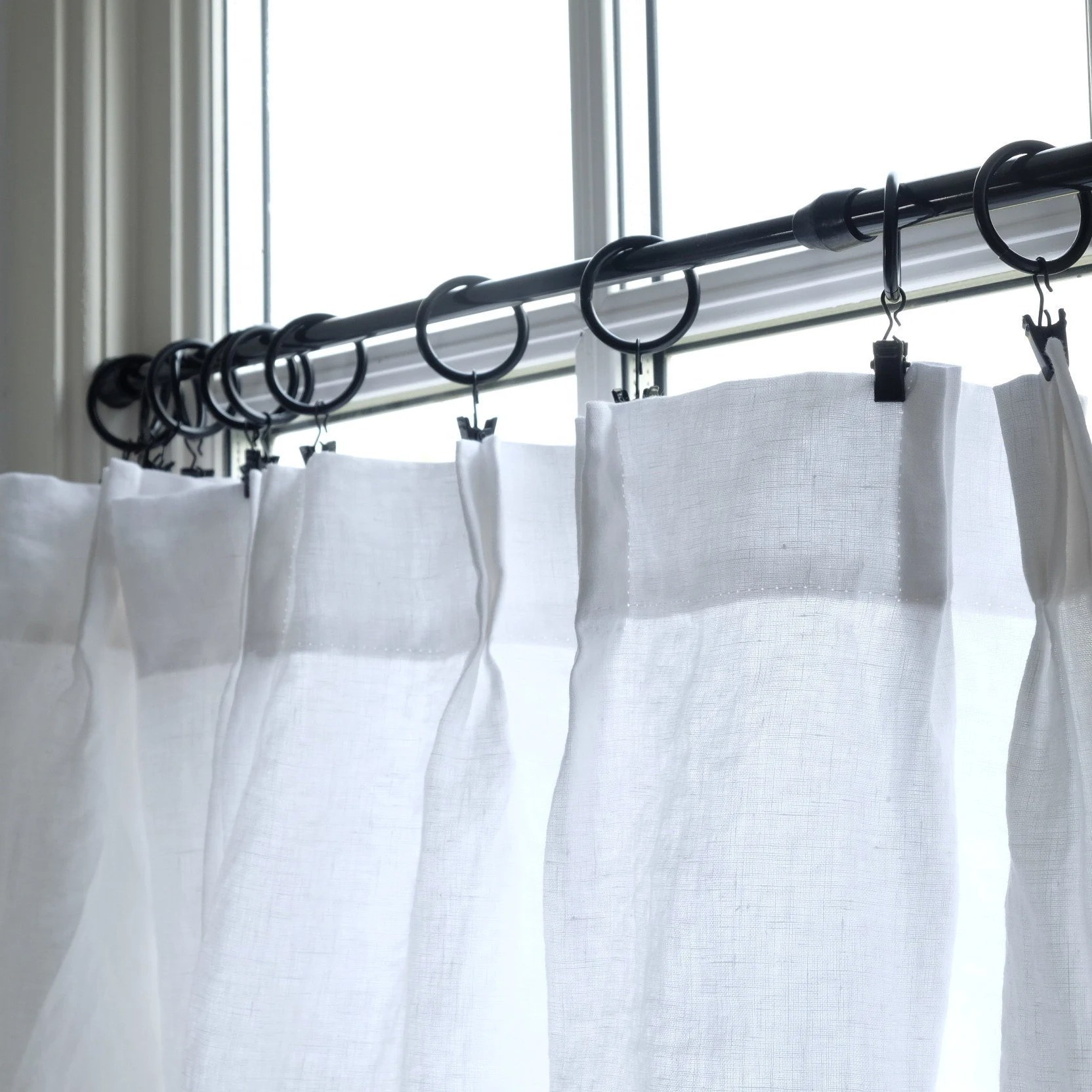 Cafe Curtain Clips Linen Cafe Curtains Clip Rings Cafe Curtain Rings Black Metal Farmhouse Style