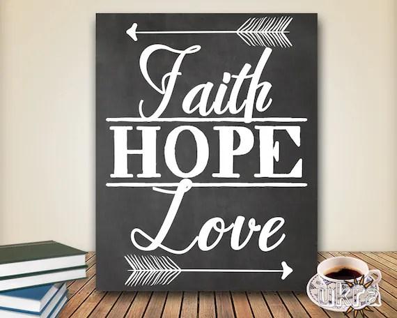 Faith Hope Love Printable Chalkboard Art Bible Verse Wall Art