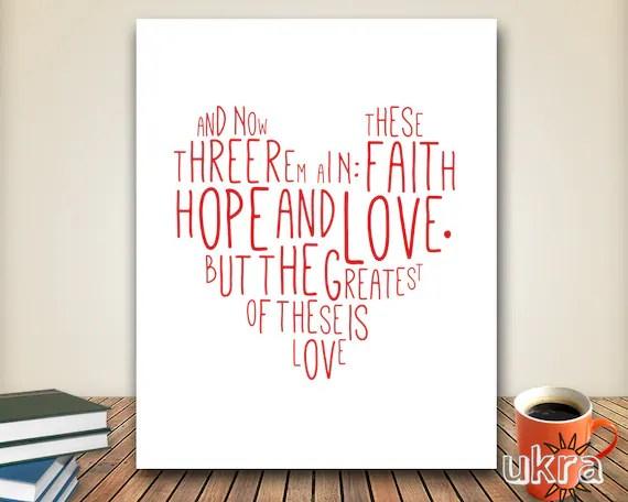 Bible Verse Wall Art,Faith Hope Love Print,Printable Scripture,Love