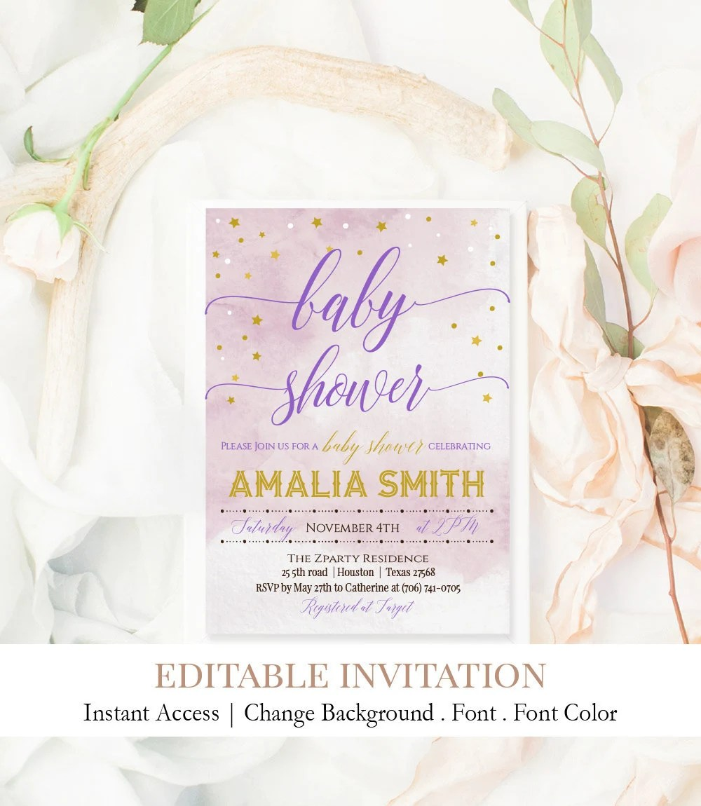 Pink and Gold Star Invitation Girl Baby Shower Invite Star Etsy
